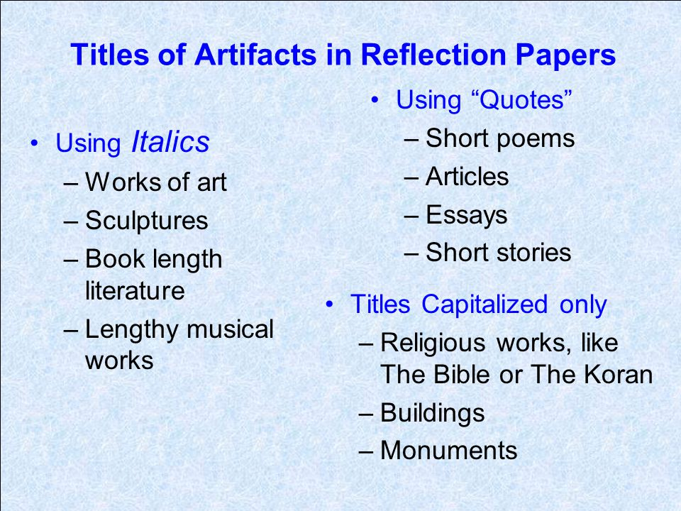 Titles of Artifacts in Reflection Papers