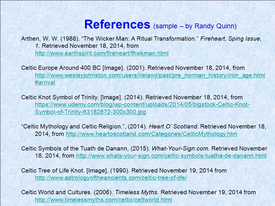 References (sample – by Randy Quinn)