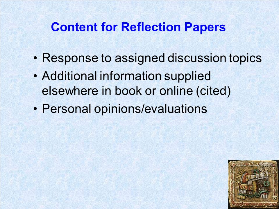Content for Reflection Papers