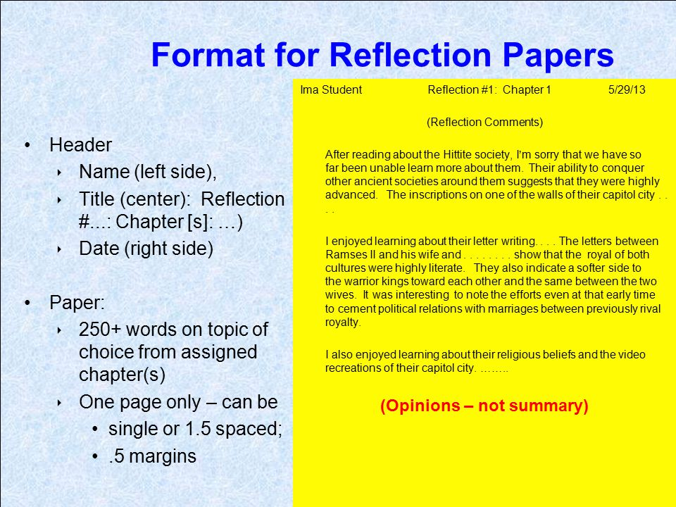 Guidelines for writing a reflection paper