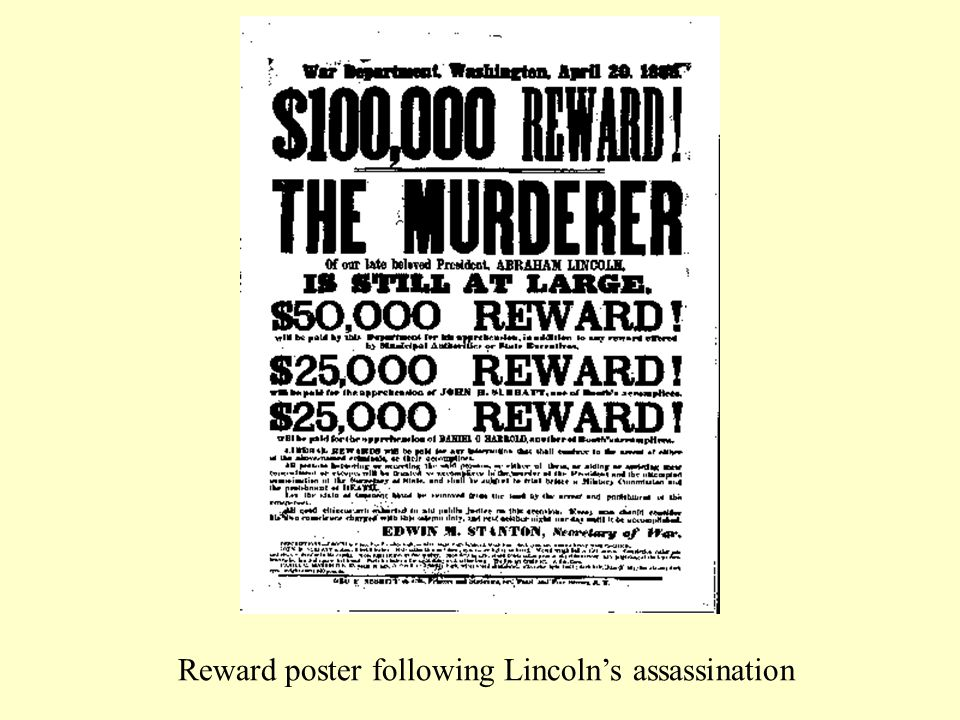 Reward poster following Lincoln's assassination