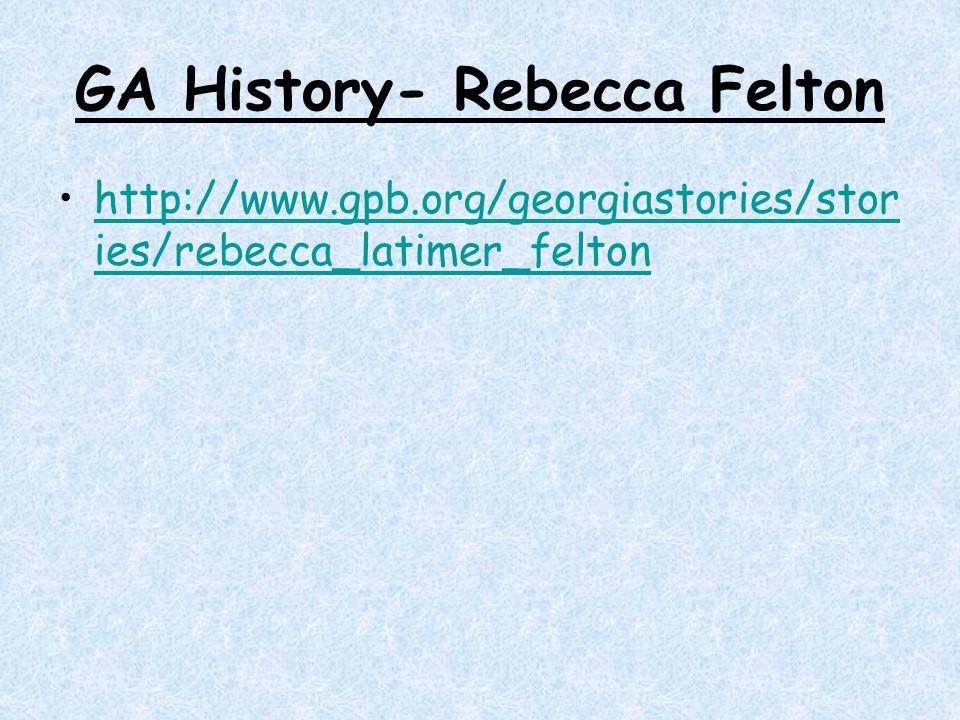 GA History- Rebecca Felton
