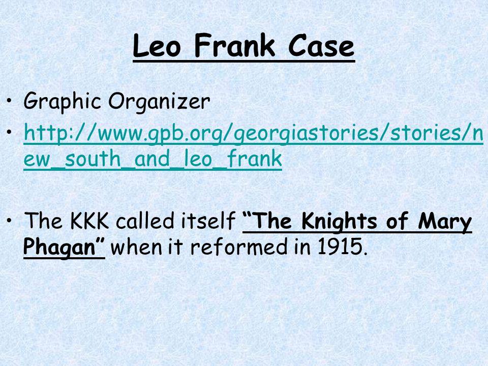 Leo Frank Case Graphic Organizer