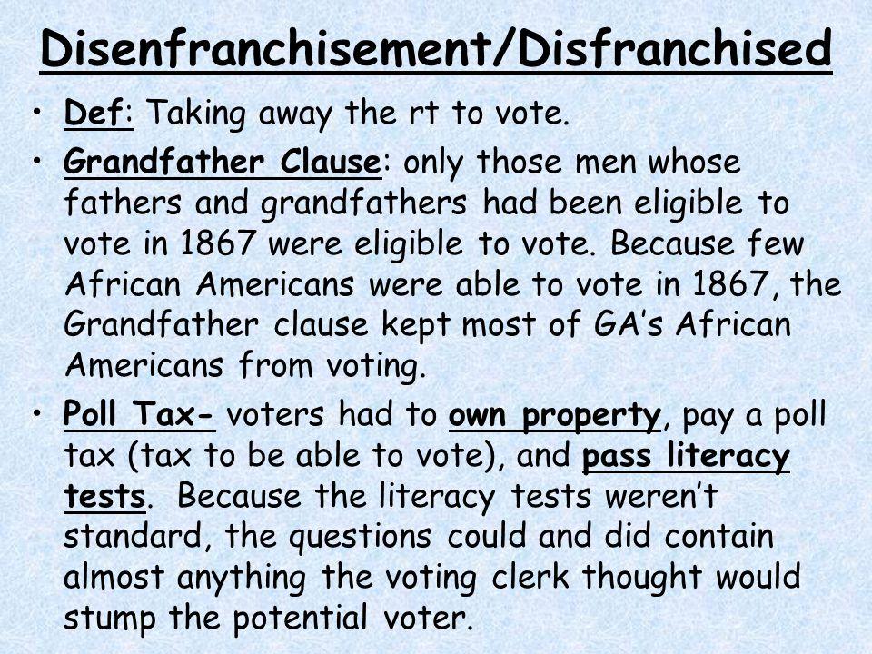 Disenfranchisement/Disfranchised