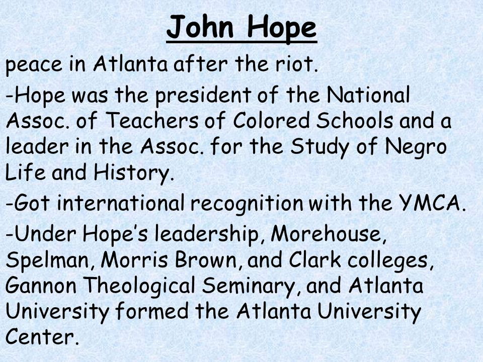 John Hope peace in Atlanta after the riot.