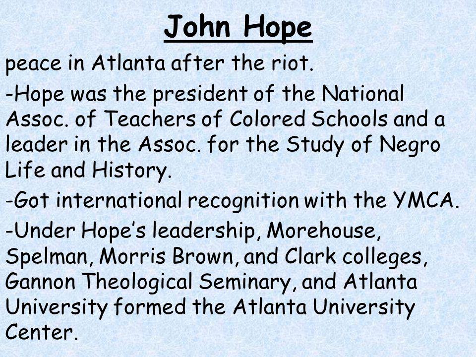 John Hope peace in Atlanta after the riot.
