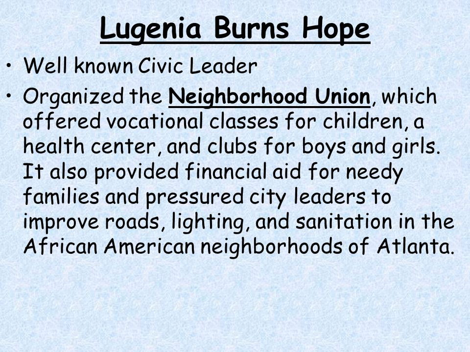 Lugenia Burns Hope Well known Civic Leader