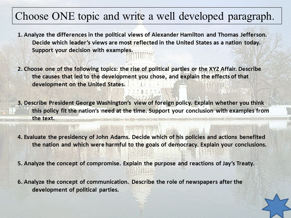 Choose ONE topic and write a well developed paragraph.