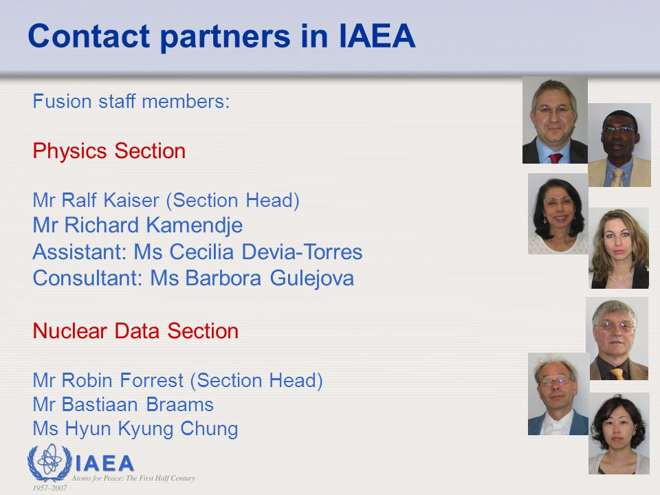 Contact partners in IAEA