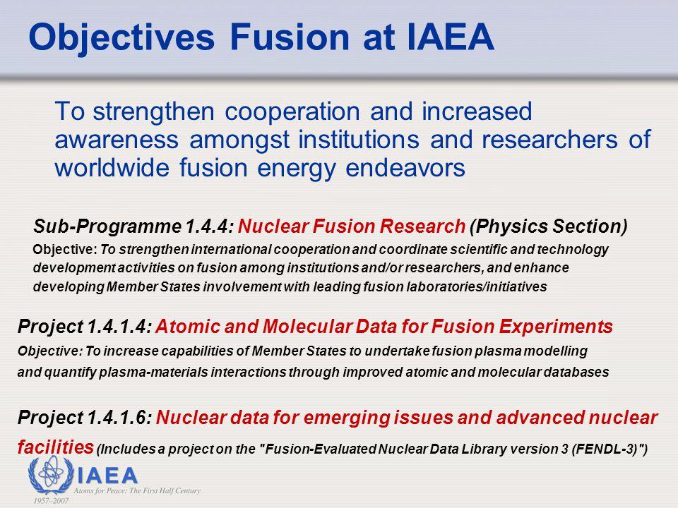 Objectives Fusion at IAEA