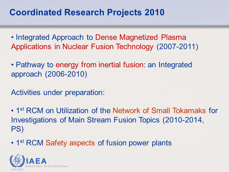 Coordinated Research Projects 2010