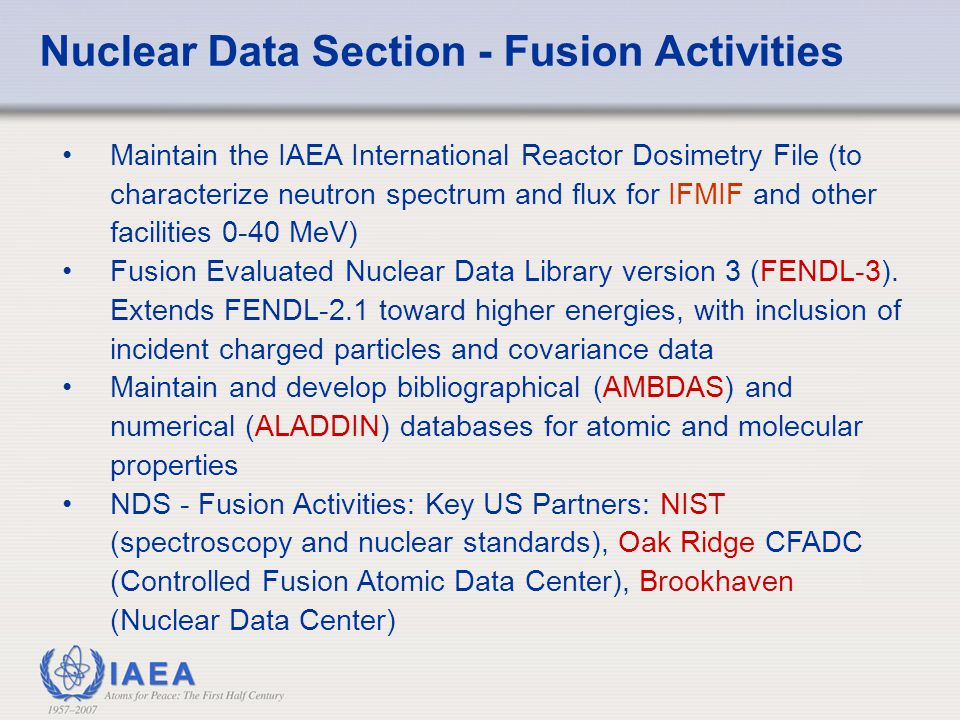 Nuclear Data Section - Fusion Activities