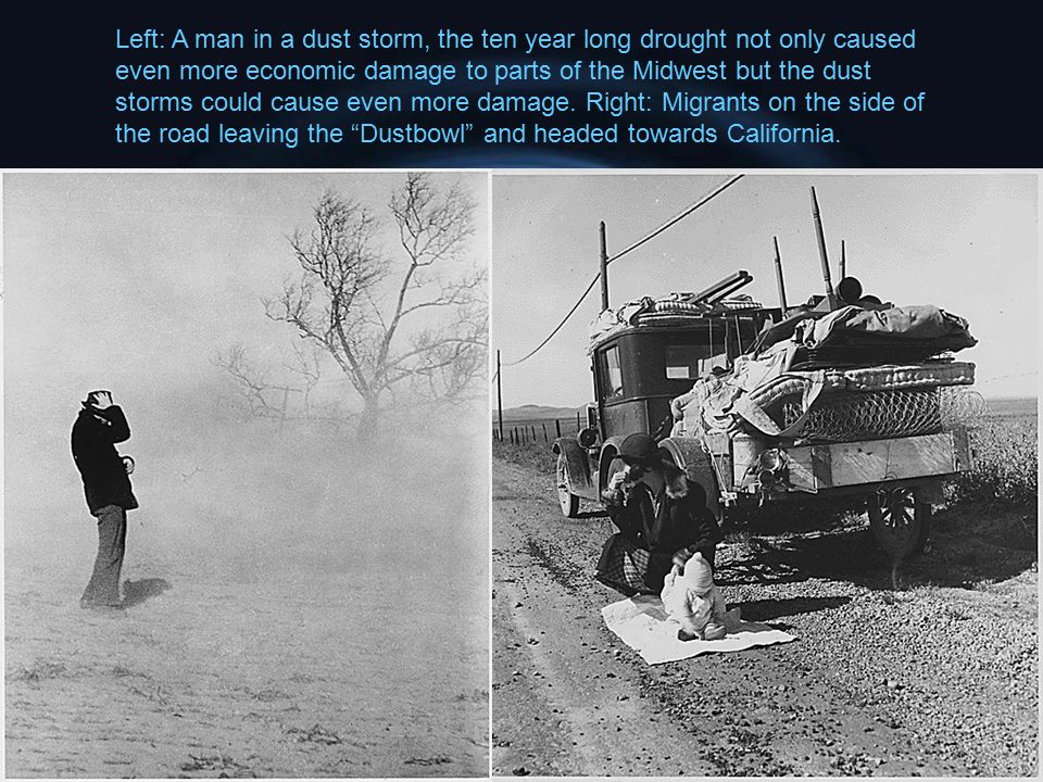Left: A man in a dust storm, the ten year long drought not only caused even more economic damage to parts of the Midwest but the dust storms could cause even more damage.