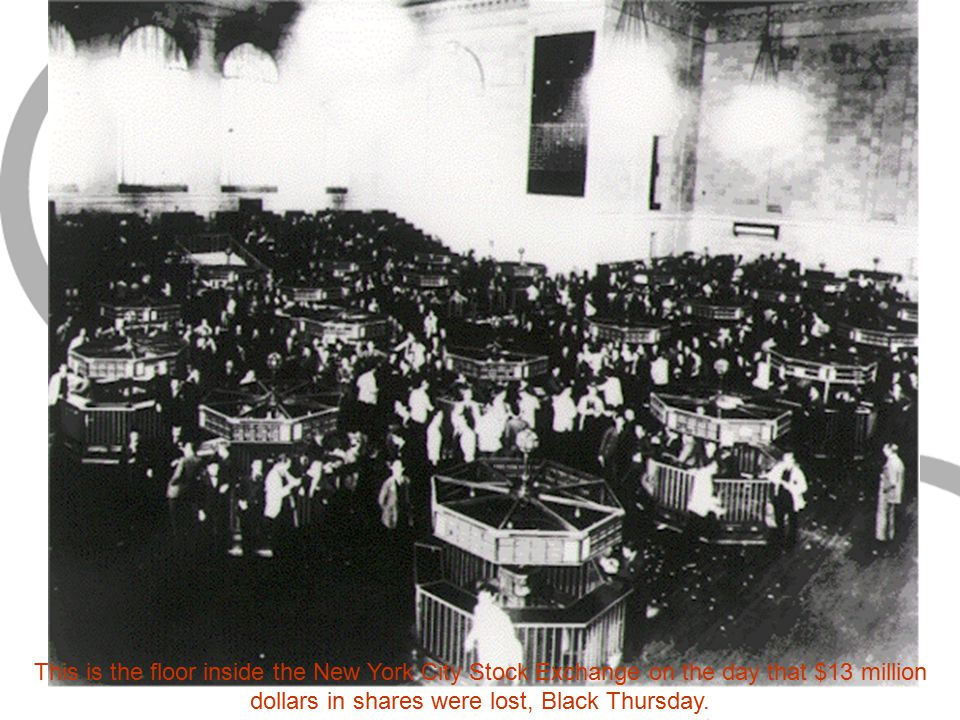 This is the floor inside the New York City Stock Exchange on the day that $13 million dollars in shares were lost, Black Thursday.