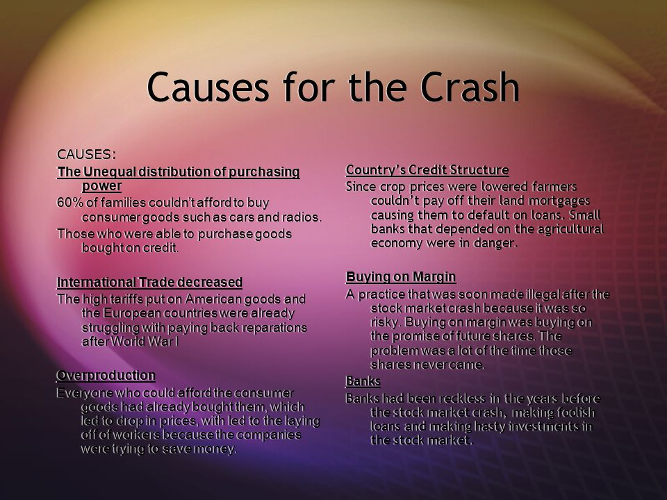 Causes for the Crash CAUSES: