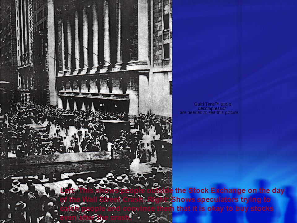 Left: This shows people outside the Stock Exchange on the day of the Wall Street Crash.