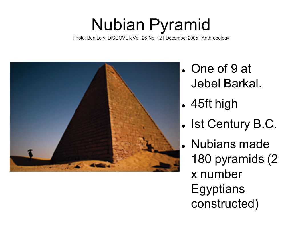 Nubian Pyramid Photo: Ben Lory, DISCOVER Vol. 26 No