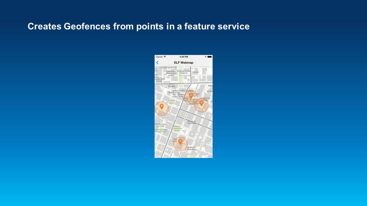 Creates Geofences from points in a feature service