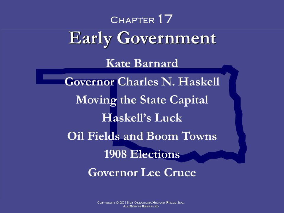 Early Government Kate Barnard Governor Charles N. Haskell