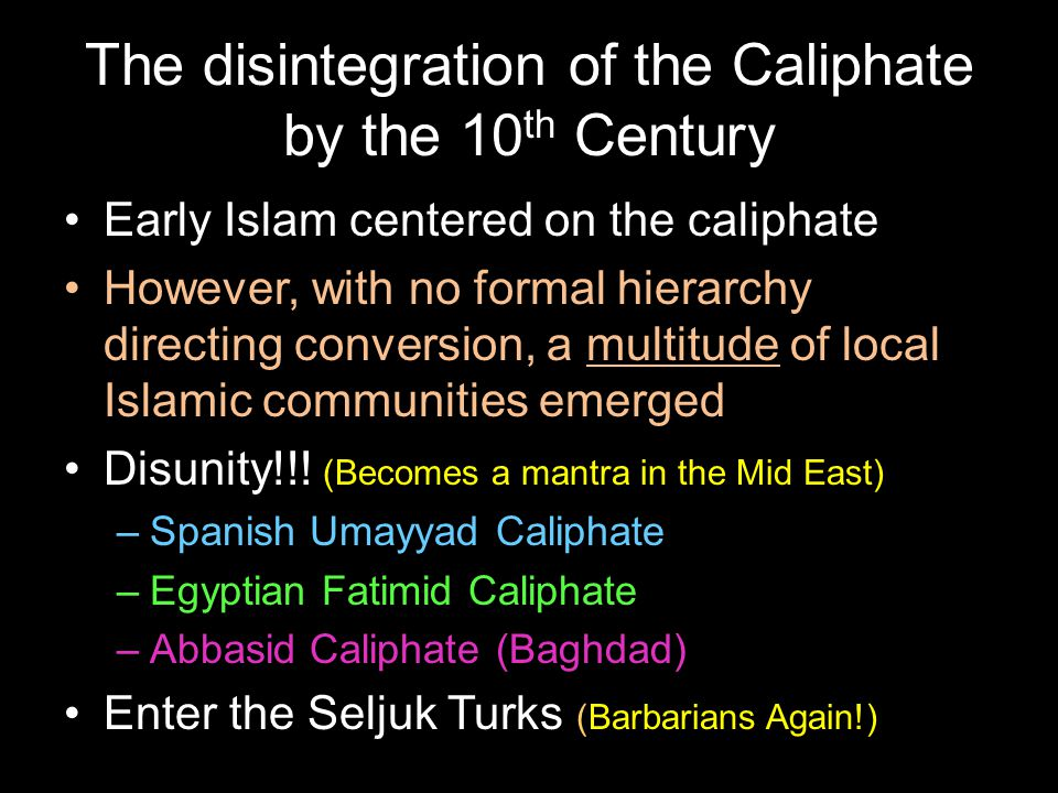 The disintegration of the Caliphate by the 10th Century