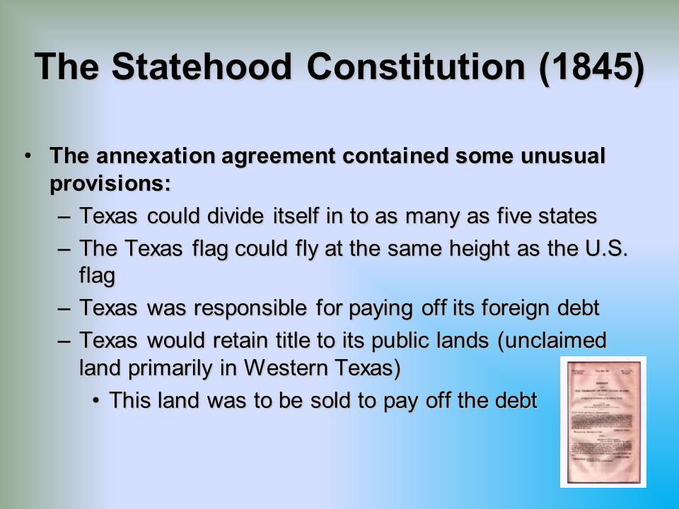 The Statehood Constitution (1845)