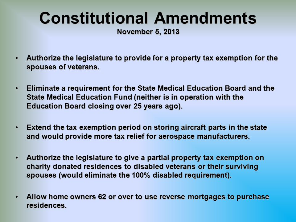 Constitutional Amendments November 5, 2013