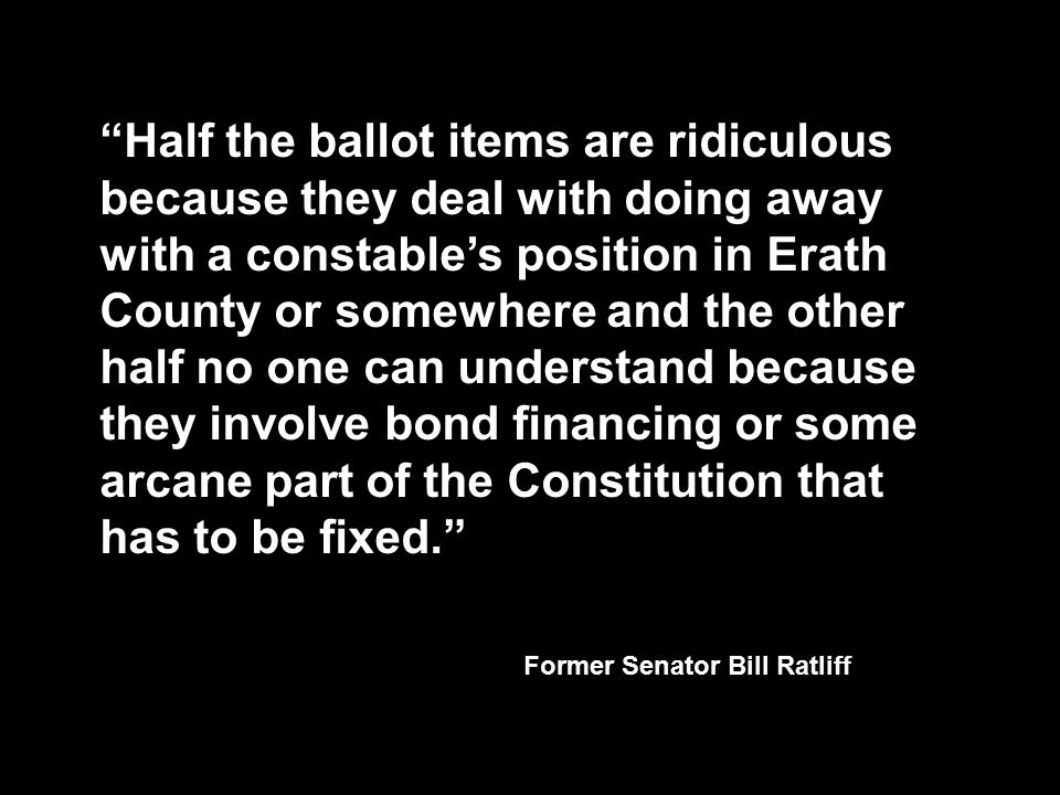 Half the ballot items are ridiculous