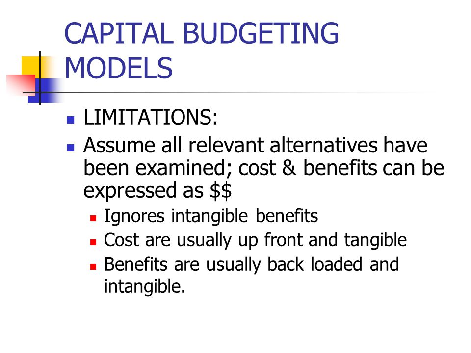 CAPITAL BUDGETING MODELS