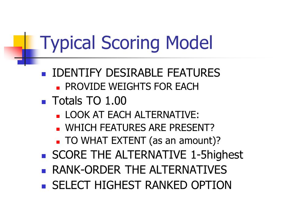 Typical Scoring Model IDENTIFY DESIRABLE FEATURES Totals TO 1.00