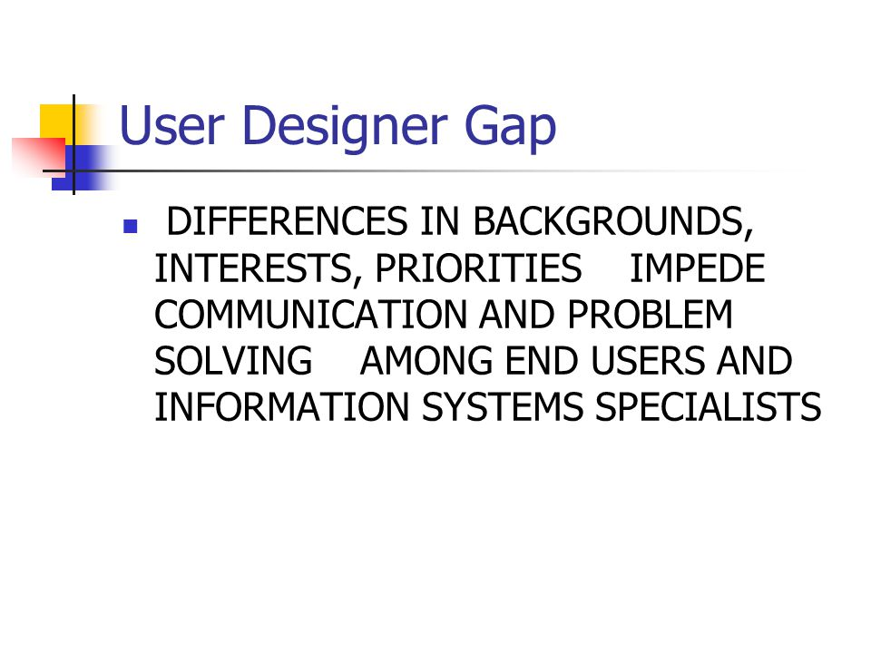 User Designer Gap