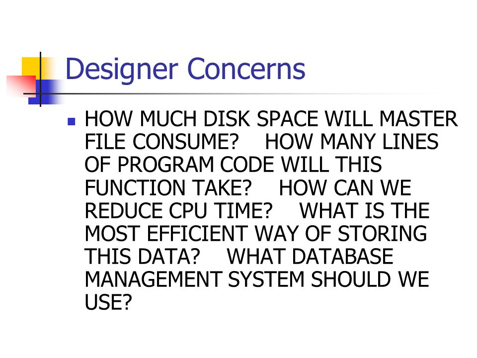 Designer Concerns