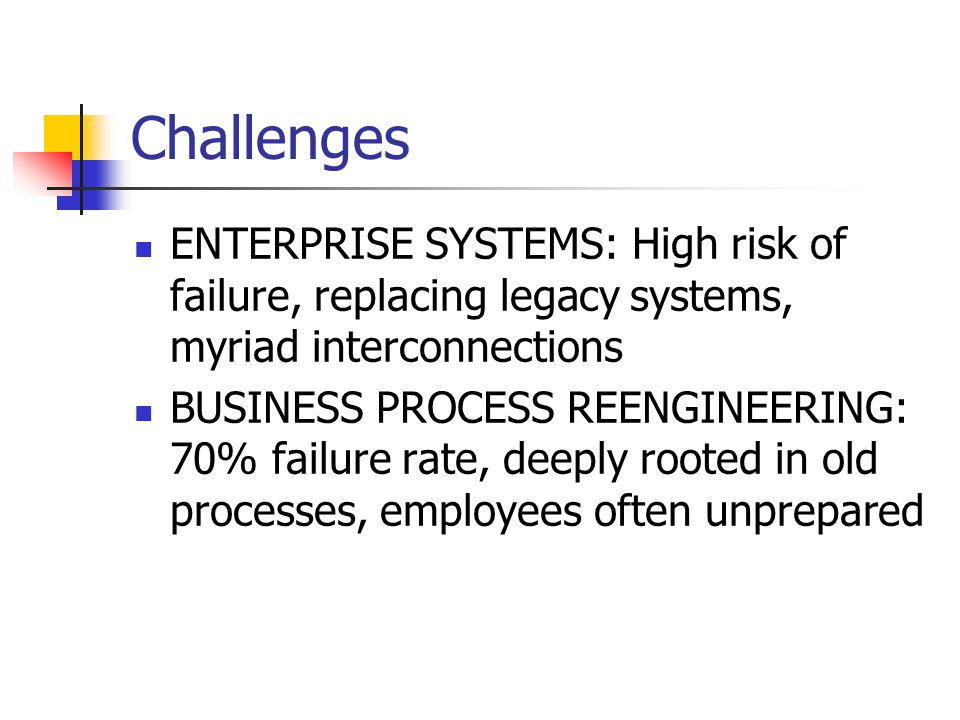 Challenges ENTERPRISE SYSTEMS: High risk of failure, replacing legacy systems, myriad interconnections.