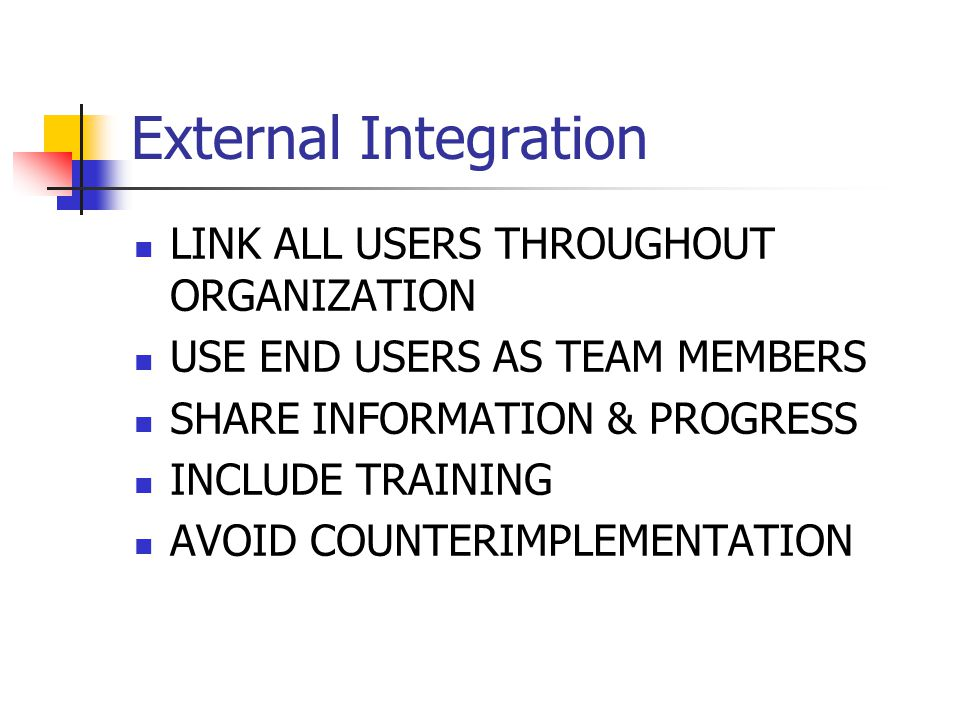 External Integration LINK ALL USERS THROUGHOUT ORGANIZATION