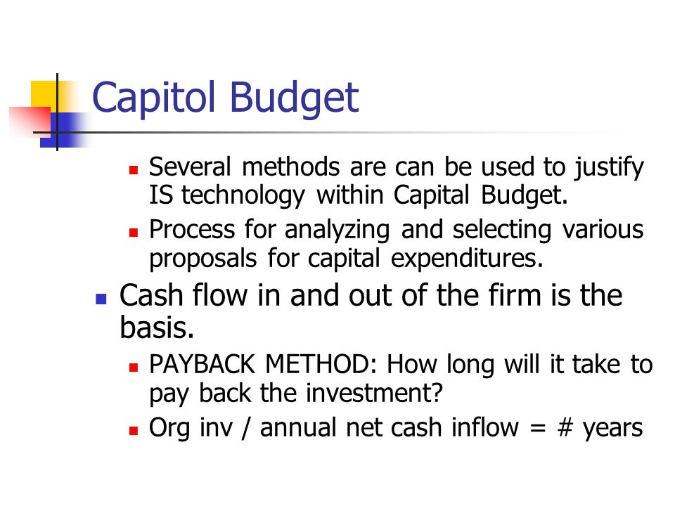 Capitol Budget Cash flow in and out of the firm is the basis.