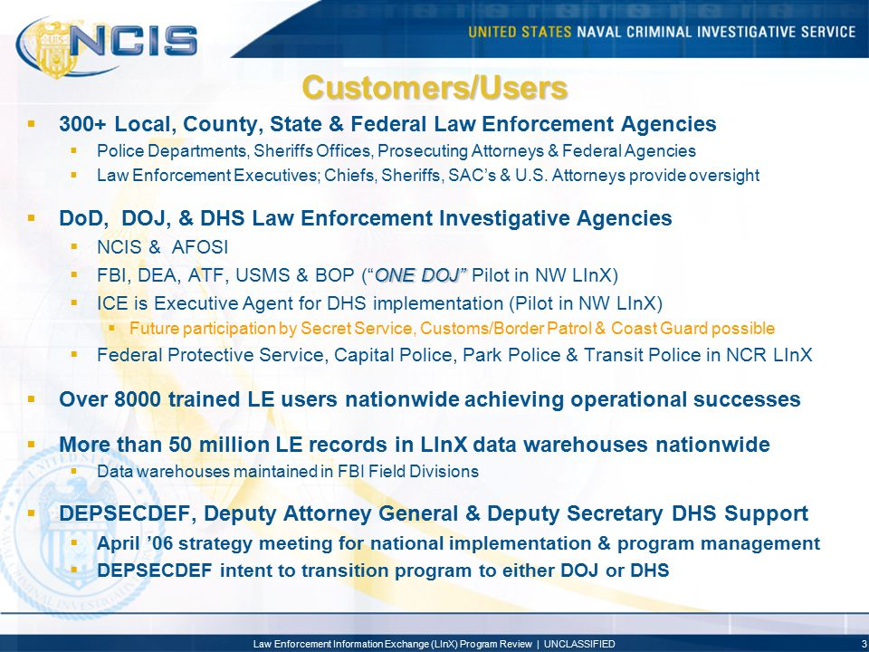 Customers/Users 300+ Local, County, State & Federal Law Enforcement Agencies.