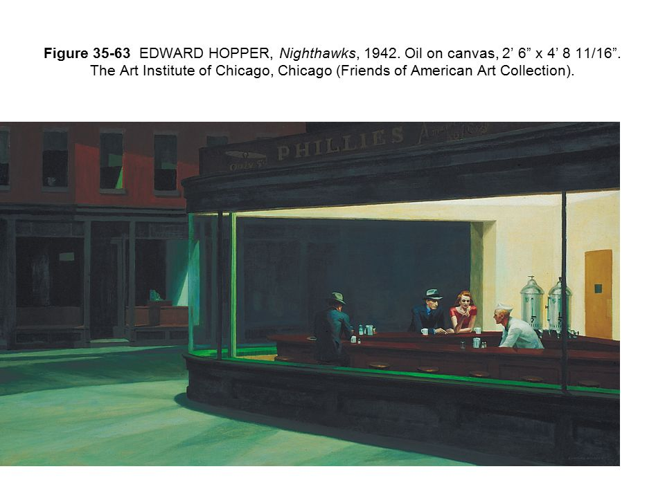 Figure 35-63 EDWARD HOPPER, Nighthawks, 1942