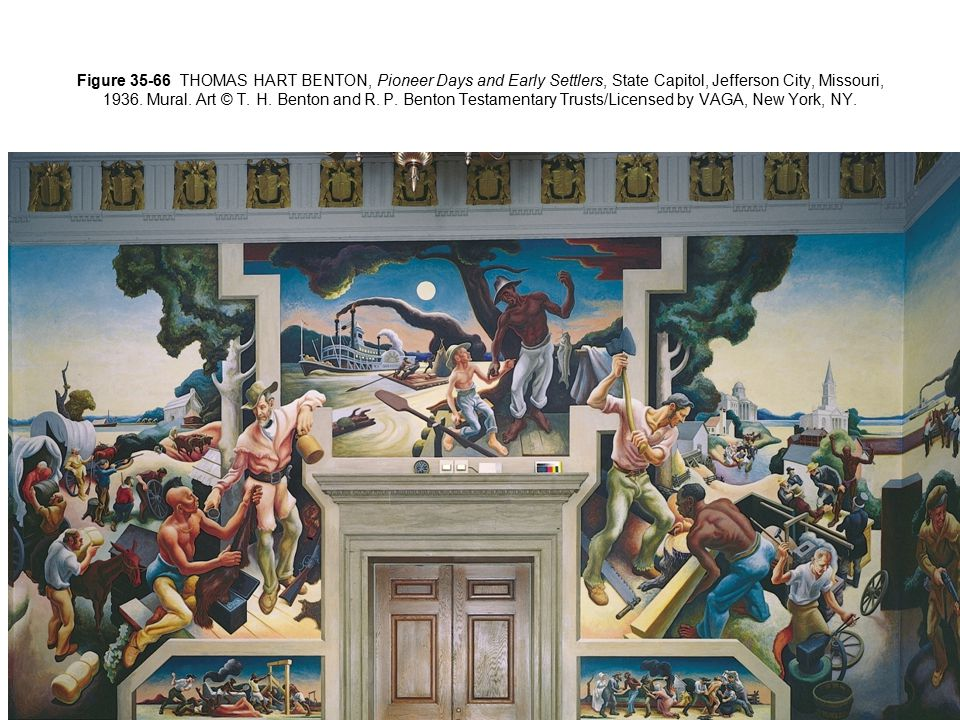 Figure 35-66 THOMAS HART BENTON, Pioneer Days and Early Settlers, State Capitol, Jefferson City, Missouri, 1936. Mural. Art © T. H. Benton and R. P. Benton Testamentary Trusts/Licensed by VAGA, New York, NY.
