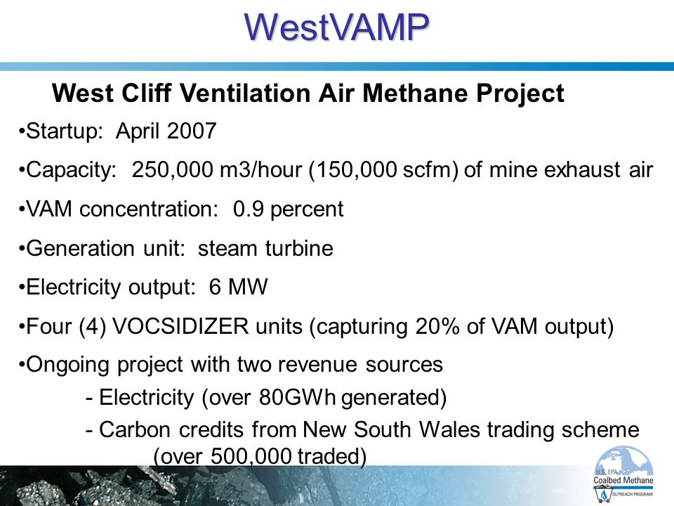 WestVAMP West Cliff Ventilation Air Methane Project