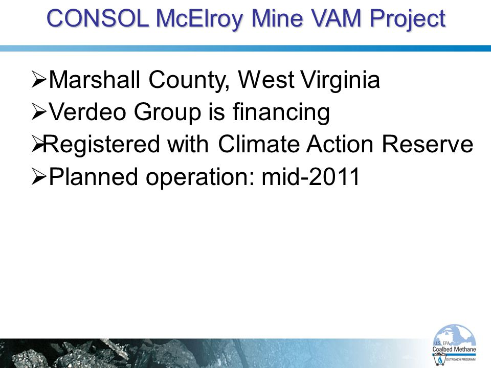CONSOL McElroy Mine VAM Project