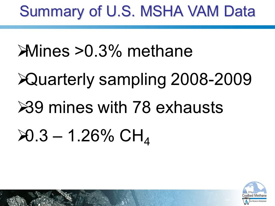 Summary of U.S. MSHA VAM Data