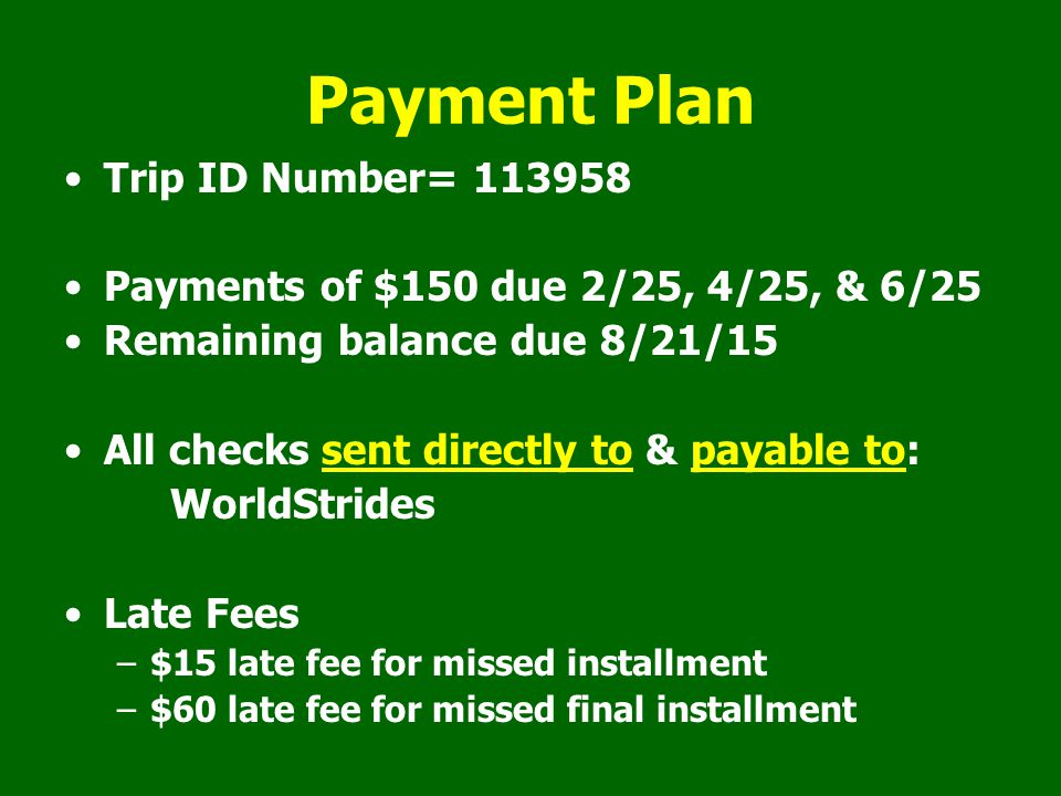 Payment Plan Trip ID Number= 113958