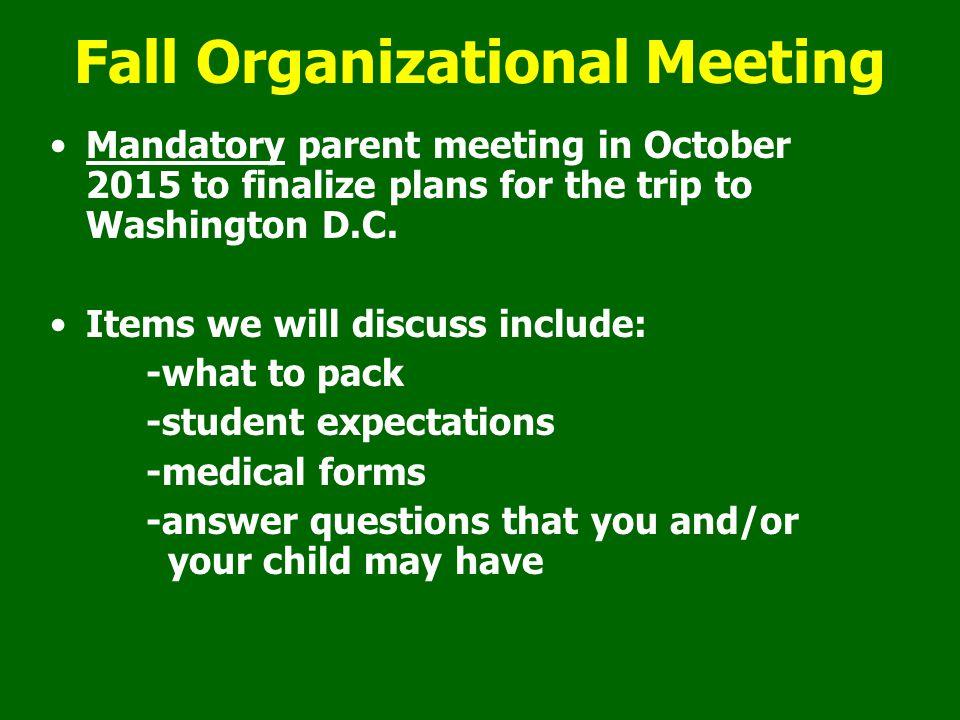 Fall Organizational Meeting
