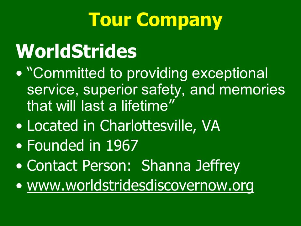 Tour Company WorldStrides