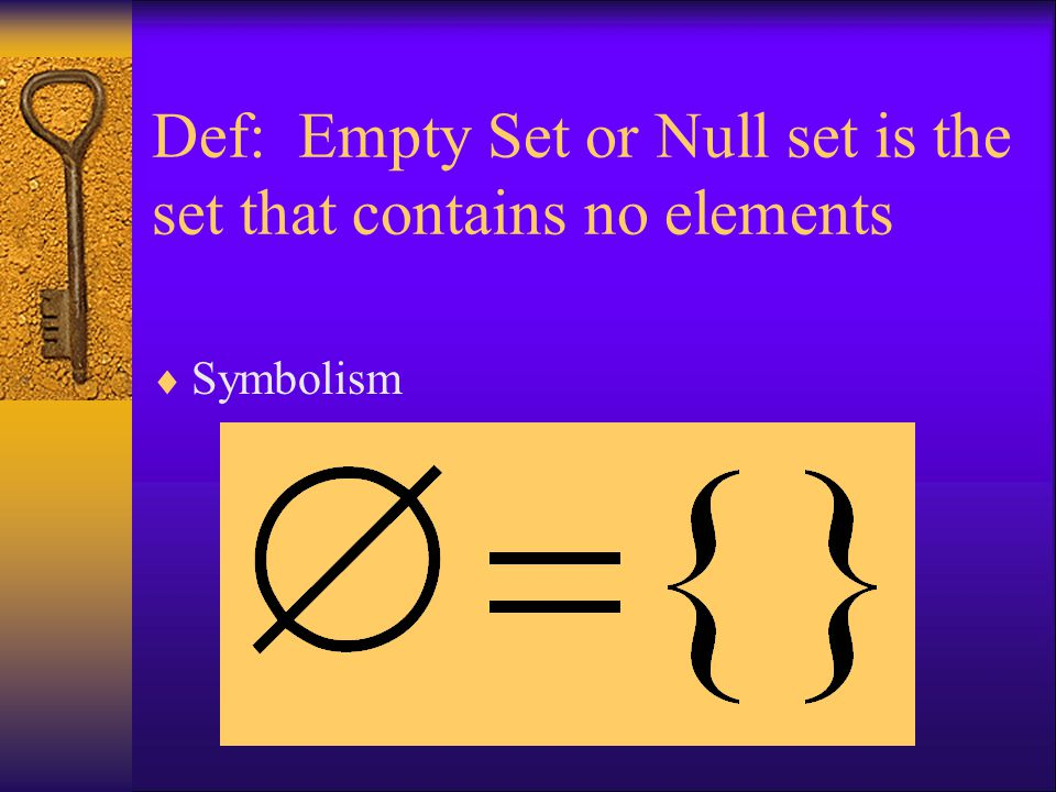 Def: Empty Set or Null set is the set that contains no elements