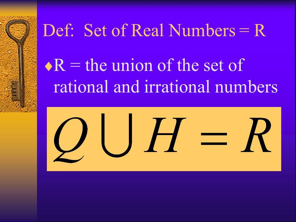 Def: Set of Real Numbers = R