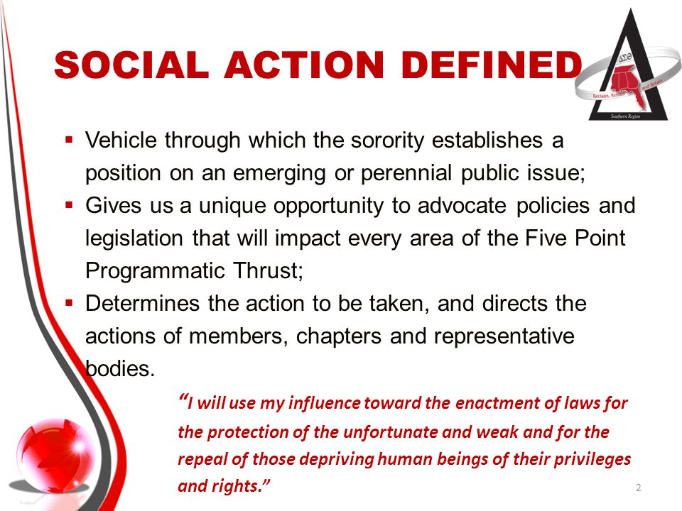 SOCIAL ACTION DEFINED Vehicle through which the sorority establishes a position on an emerging or perennial public issue;