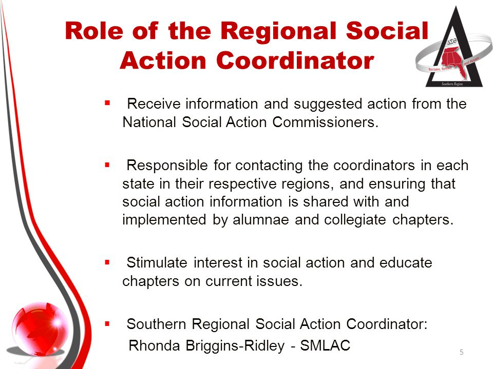 Role of the Regional Social Action Coordinator