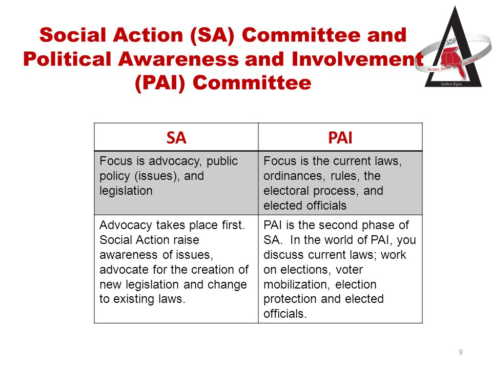 Social Action (SA) Committee and Political Awareness and Involvement (PAI) Committee