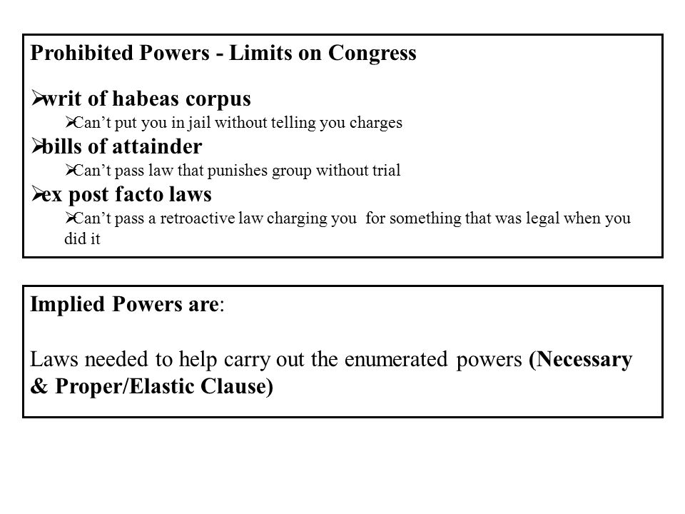 Prohibited Powers - Limits on Congress writ of habeas corpus