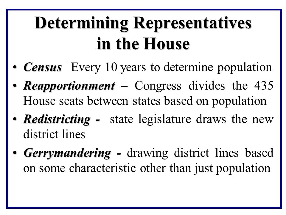 Determining Representatives in the House
